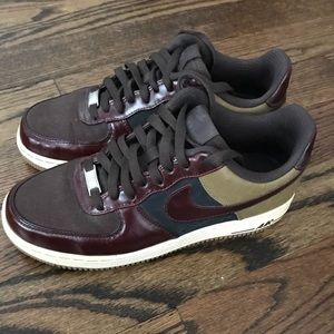 Nike brown wine and blue airforce1 sneakers